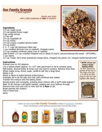 Our Family Granola - 1 page recipe