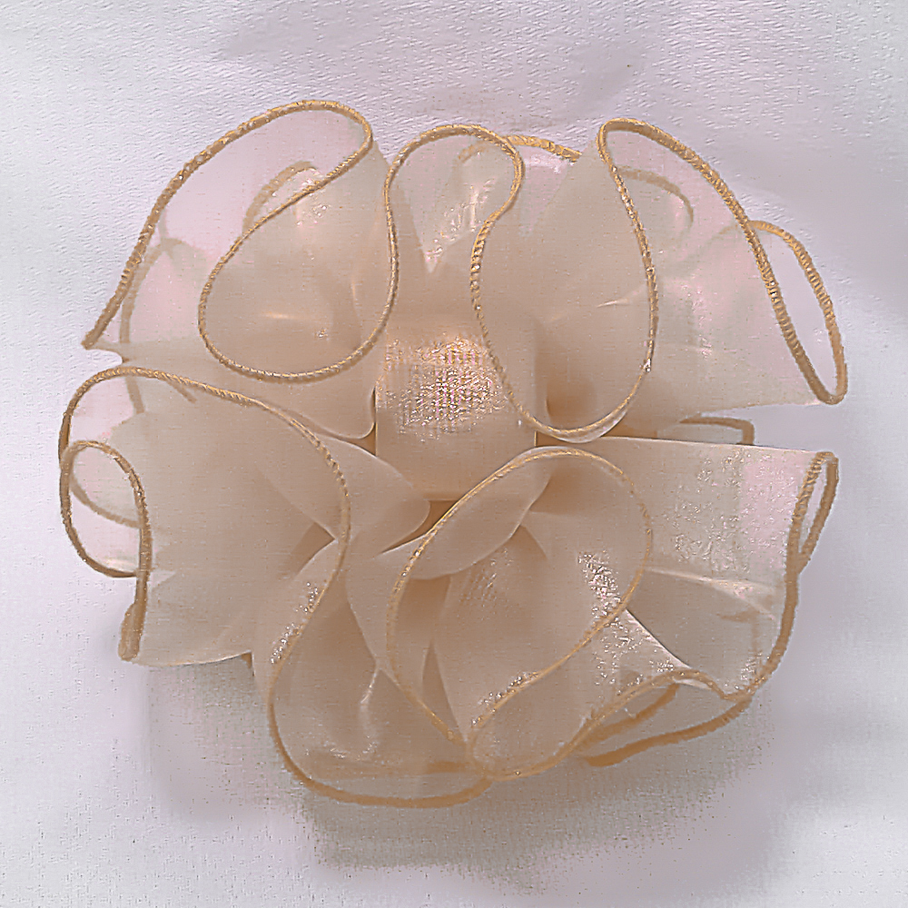 Champagne Large Puffy Ruffled Organza Hair Bow Clip Claw