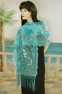 Sheer Embroidery Sequin Shawl Wrap Scarf Evening Prom ...