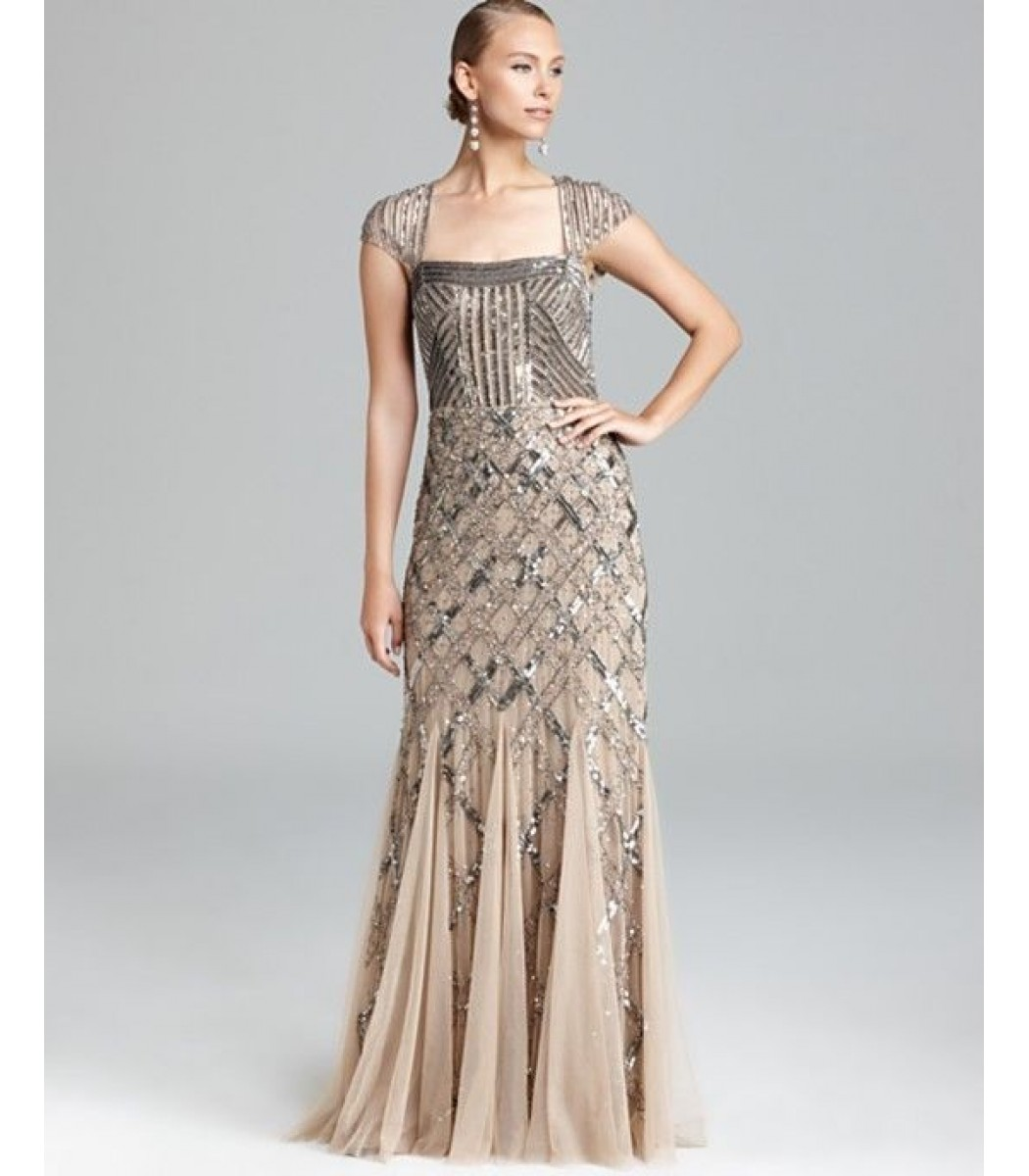 ADRIANNA PAPELL 092875460 Nude Formal Evening Gown Dress Sz 4 6 8 10 12 14 NWT