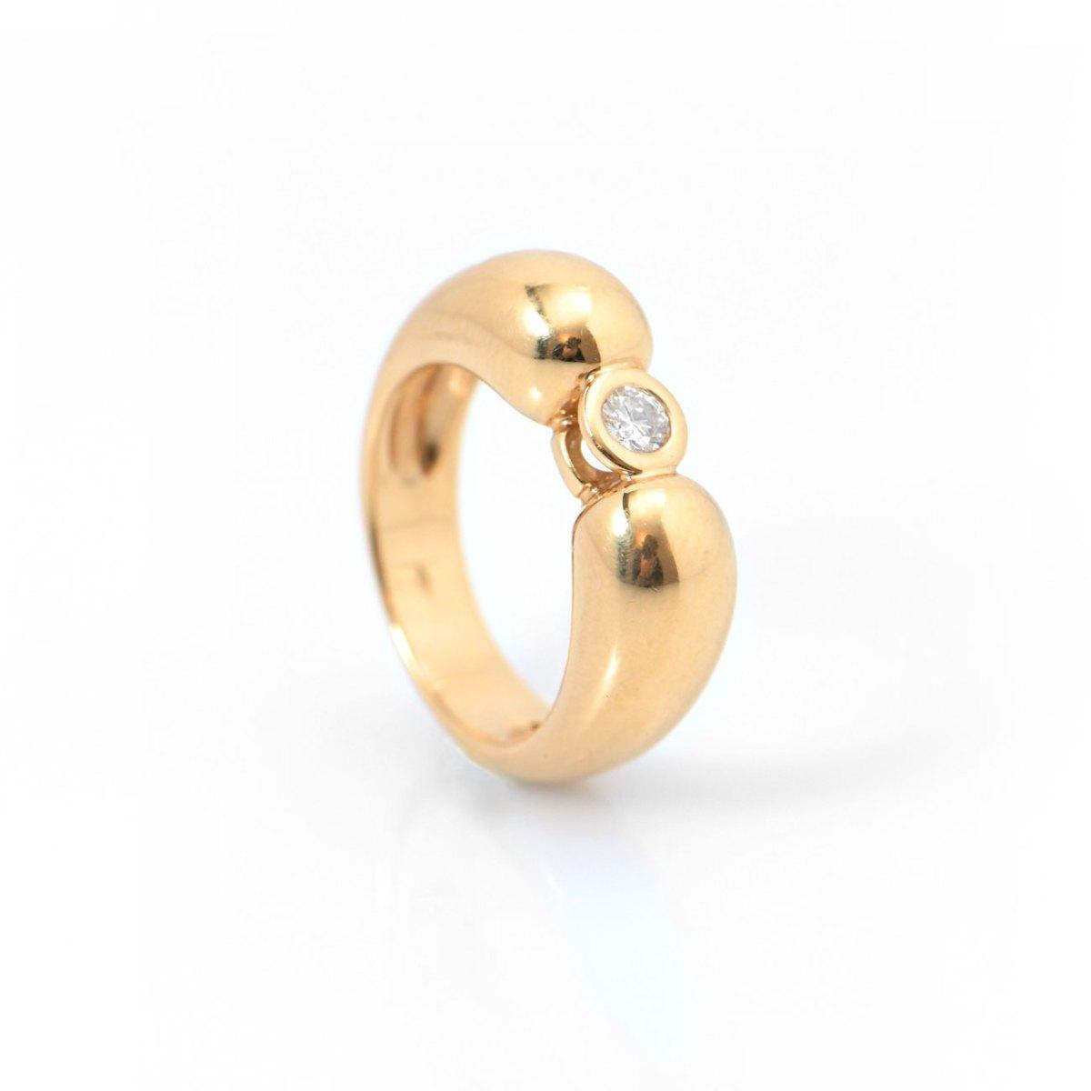 Bague diamant solitaire KORLOFF, 0,20ct serti clos sur monture or jaune 750‰, Taille 54 | Réf. BA-B4364 | EVENOR Joaillerie • Bijoux neufs - Bijoux Vintage