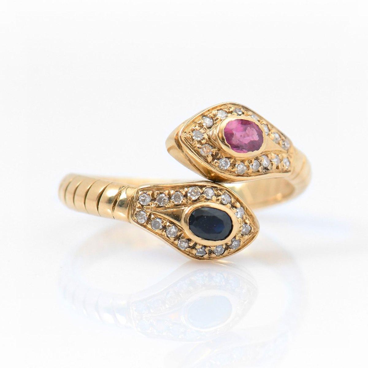 Bague Serpent saphir bleu et tourmaline rose, entourage diamants, or jaune 750‰, Taille 57/59 | Réf. BA-EVENOR Joaillerie • Bijoux Vintage