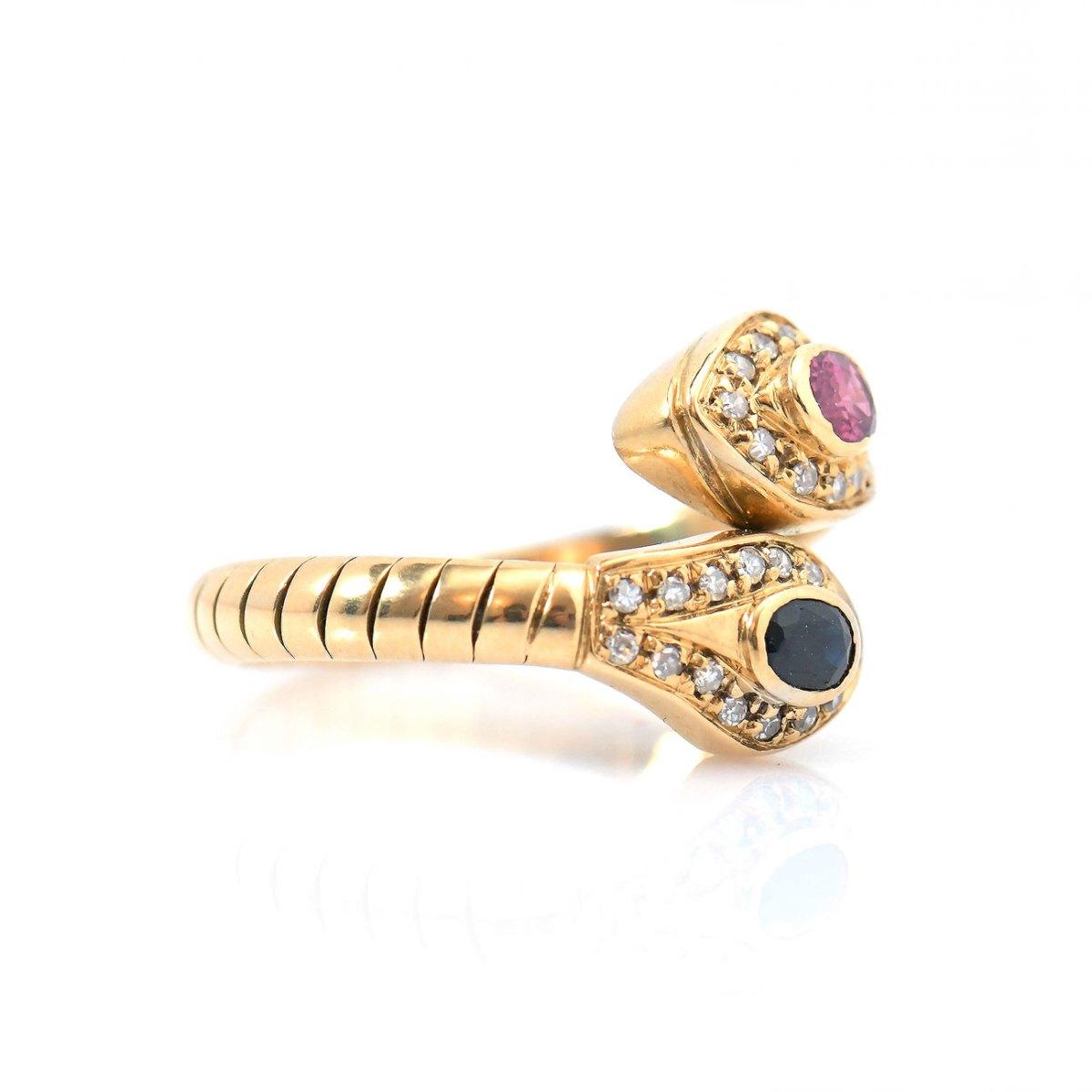 Bague Serpent saphir bleu et tourmaline rose, entourage diamants, or jaune 750‰, Taille 57/59 | Réf. BA-B18414 | EVENOR Joaillerie • Bijoux Vintage