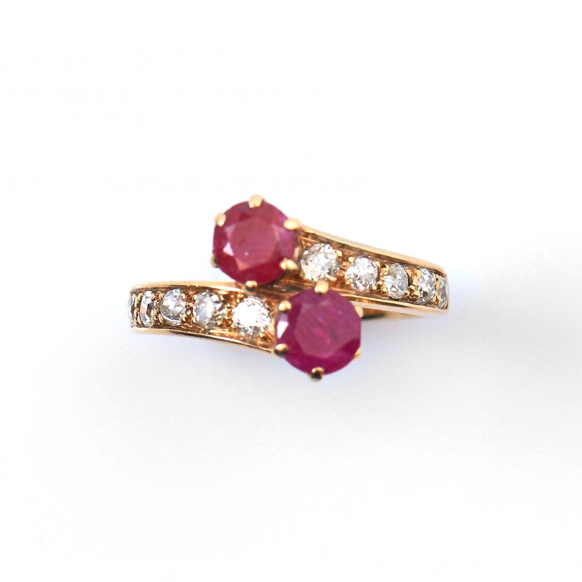 Bague Toi et Moi rubis et diamants, taille brillant, or jaune 750‰ , taille 56   Réf. BA-B13245   EVENOR Joaillerie • Bijoux neufs et bijoux Vintage