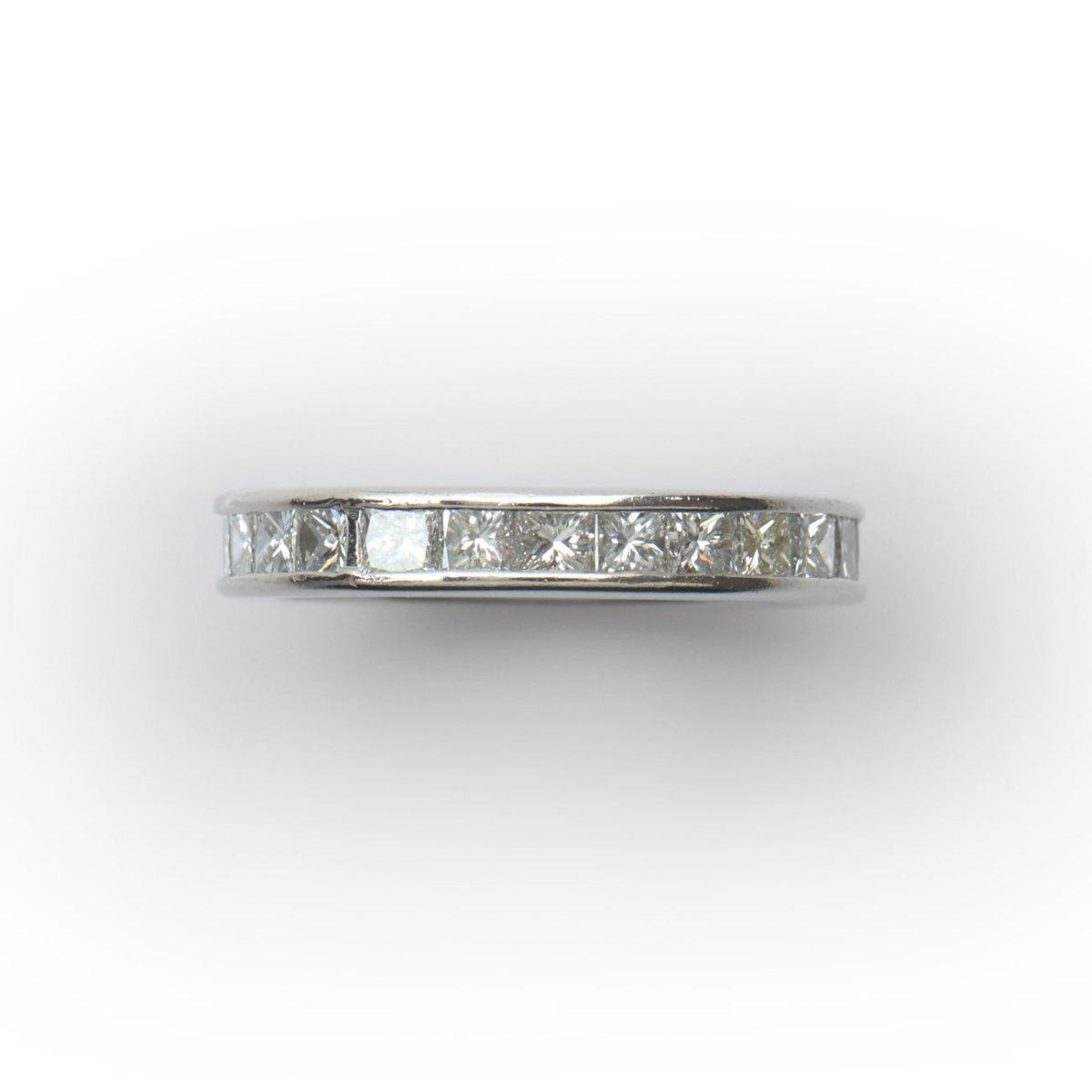 Princess diamonds wedding band in platinum, Size 7, Ref. BA-B18930 | EVENOR Jewelry • Brand new and vintage jewelry