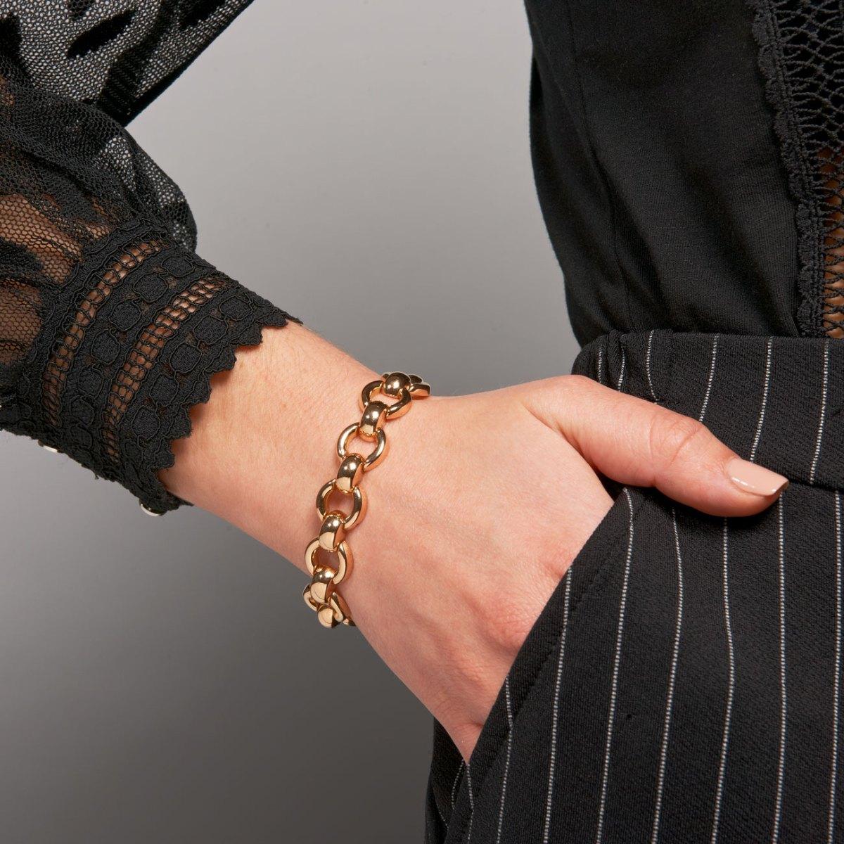 Bracelet or jaune 18K/750, maille Forçat, travail français, poids 26g, réf. BR1901. | EVENOR Joaillerie • France