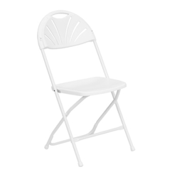 Folding Chair Round Hanging Indoor Feather Xt Fan Back Plastic Top 440 Lb Capacity White