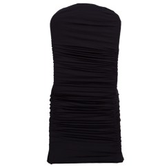 Ruched Spandex Chair Cover High With Accessories Black Banquet Covers