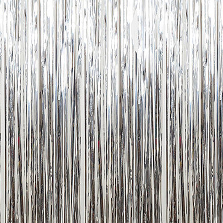 Silver  Metallic Fringe Curtain