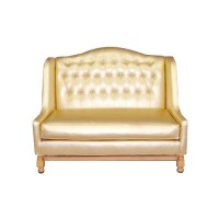 Gold Tufted Love Seat | Event Furniture Rentals