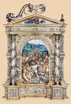 Pace con la deposizione, bottega di Giacomo e Galeazzo Cambi, donato da Agostino Ferrero, 1520 circa., Vercelli, Museo del tesoro del Duomo