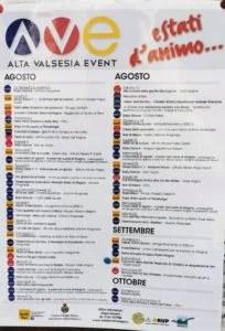 Calendario eventi estate 2019 Alagna