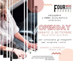 Four Music Borgomanero locandina open day