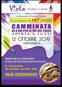 Locandina Camminata benefica Art&food Grignasco 2019