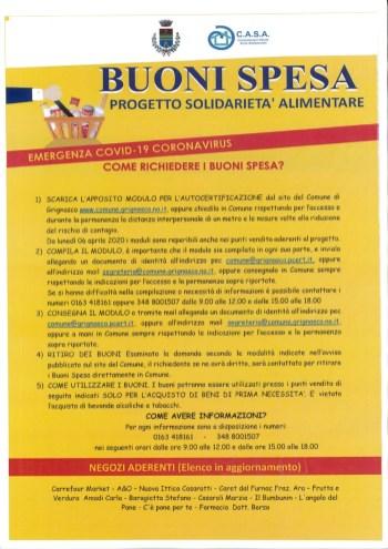 Buoni Spesa Comune di Grignasco emergenza Covid-19