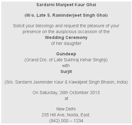 Sikh And Punjabi Wedding Card Wordings
