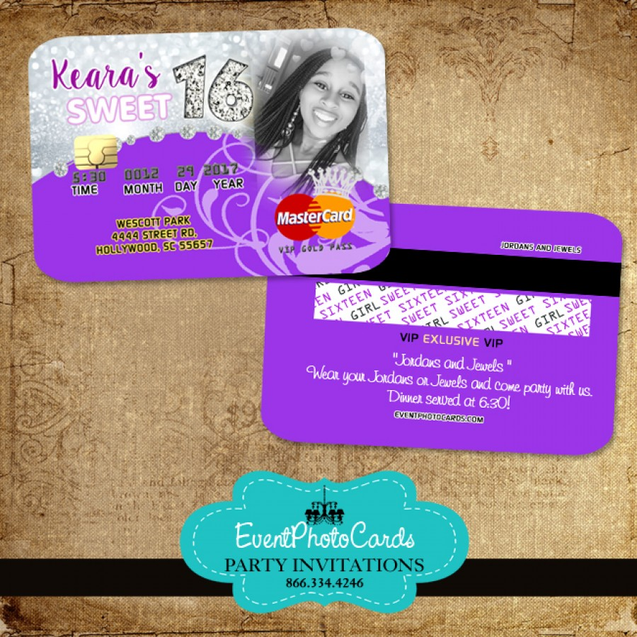 Personalized Purple Photo Sweet 16 Credit Card Sweet