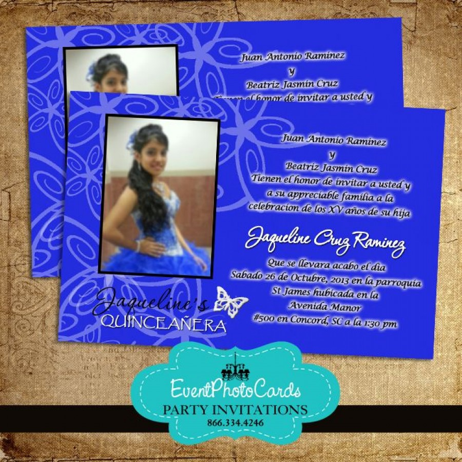 Royal Blue Butterfly Invitations - Photo Sweet 15