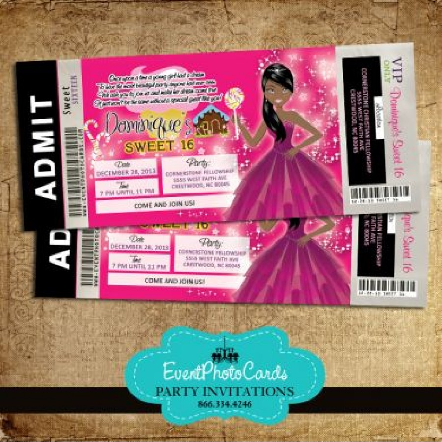 Teen Party Central Free Shipping Candyland Ticket AA1 Invitation African American Sweet 16