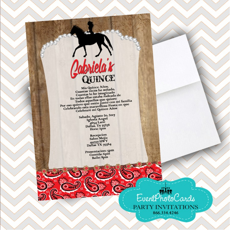 Rustic Cowgirl Quinceanera Invitations  Red