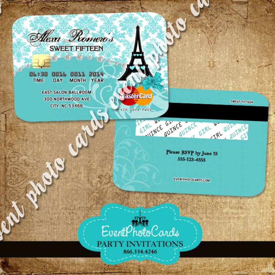 Paris Credit Card Sweet Fifteen Invitations Teal