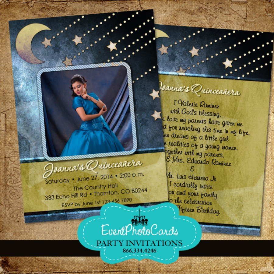 Stars  Moon Quinceanera Invitations
