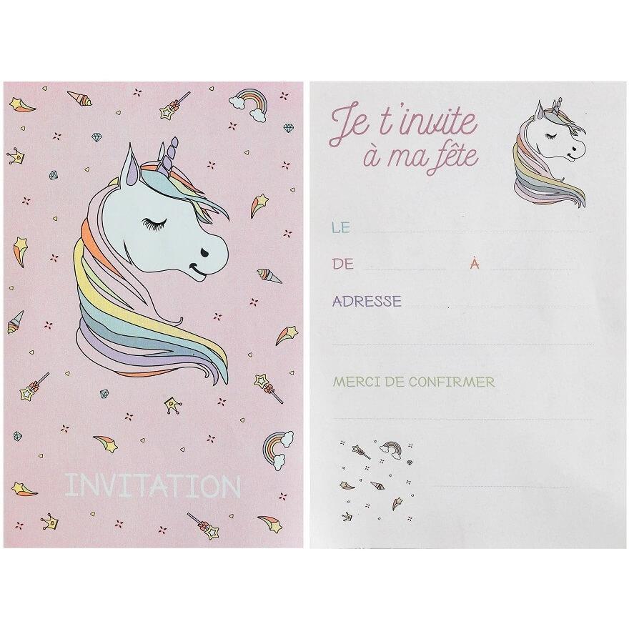 carte invitation anniversaire licorne rose et blanche x6 ref 6726