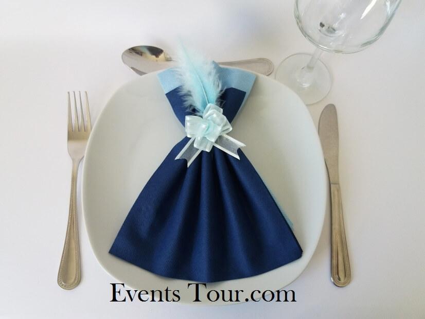 pliage de serviette airlaid glamour bleu marine et bleu ciel x1 ref 10060
