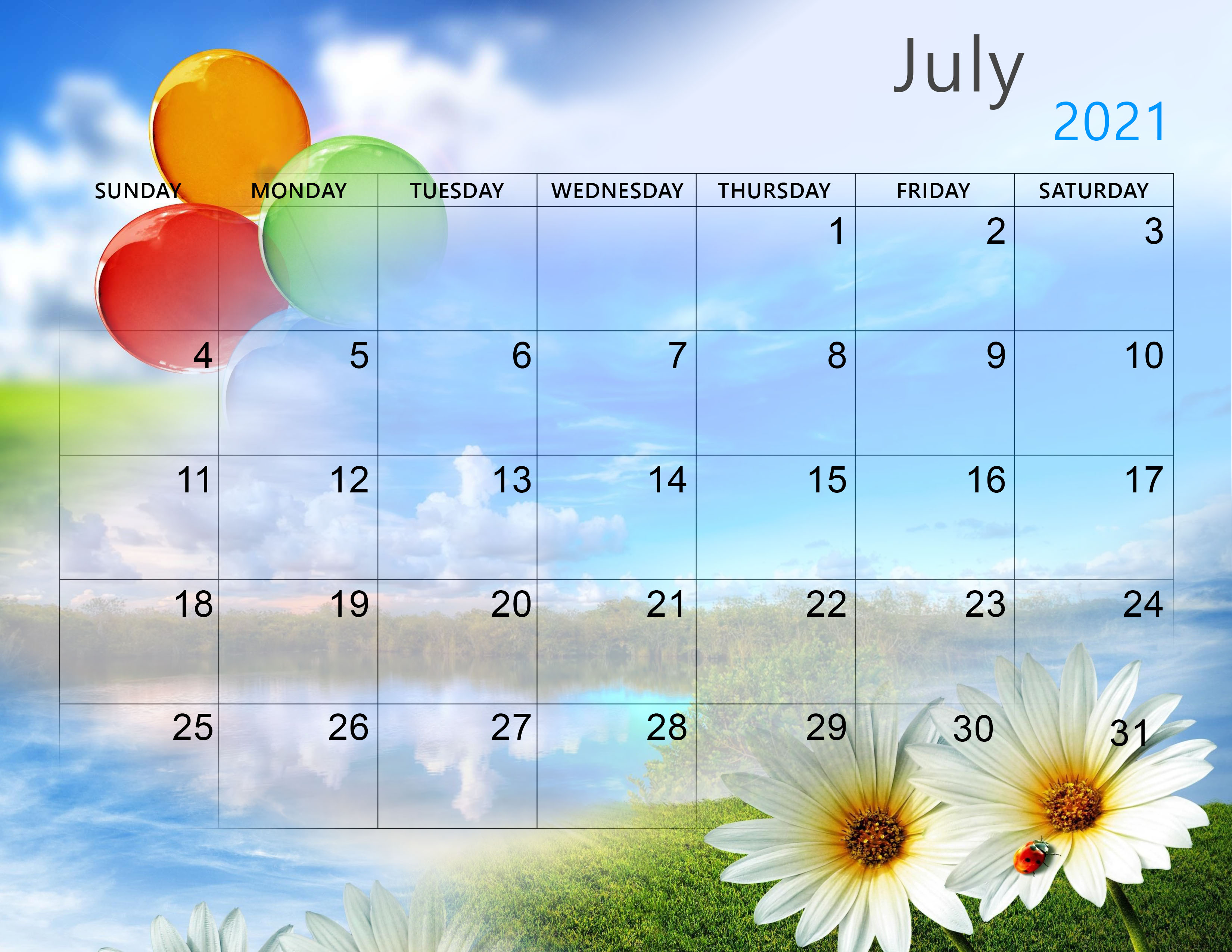 Google calendar doesn't show any holidays by default. Online Cute July 2021 Calendar - Eventskarma
