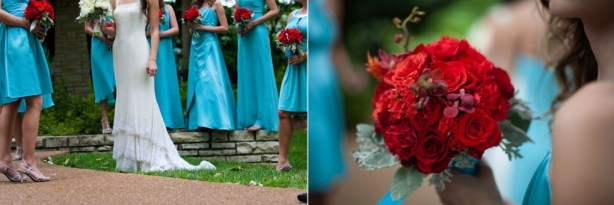 Aqua bridesmaids with red bouquets