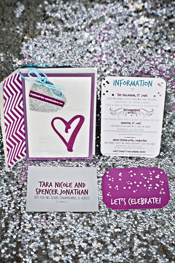 glitter sparkle sequins invitations hearts chevron pink purple turquoise plum silver