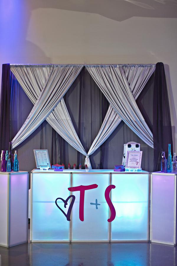 custom light up acrylic bar snow cone with wedding monogram