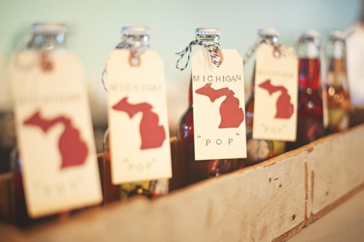 Wedding soda display with custom hangtags wedding