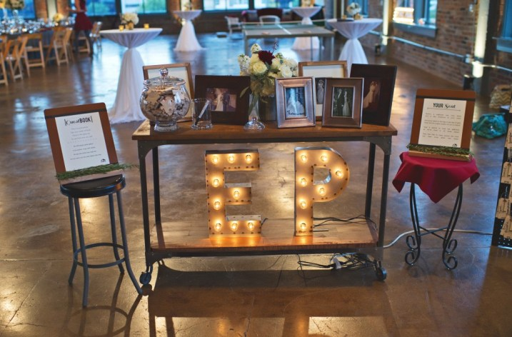 Custom letter marquees wedding reception welcome table