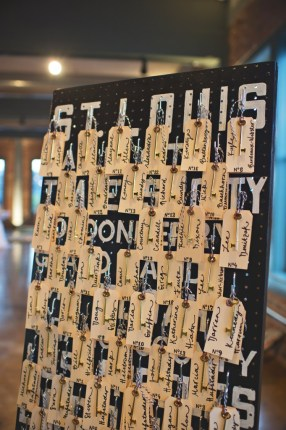 Pegboard seating chart wedding keys and tags