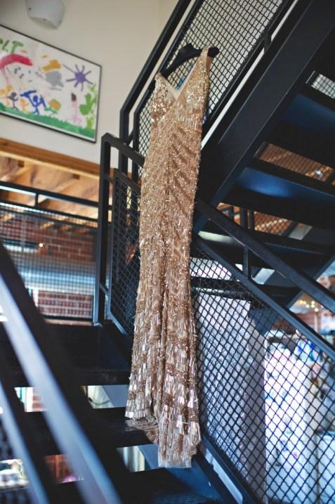 Gold sequin Theia wedding dress