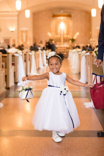 Flower Girl at Our Lady of Pillar Wedding | Events Luxe Weddings