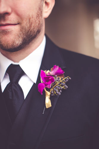 Magenta boutonniere | Events Luxe Weddings