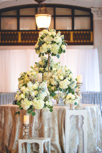 flowers at winter white wedding in st. louis | Events Luxe weddings