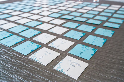 place cards at winter white wedding in st. louis | Events Luxe weddings