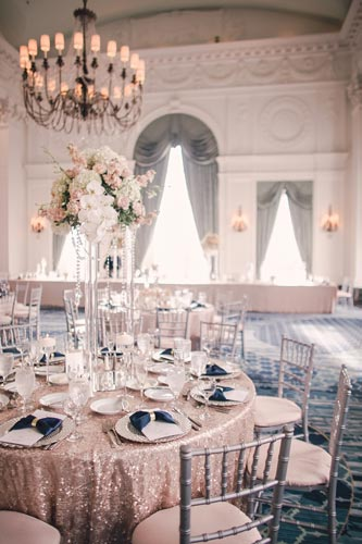 Table setting at Marriott St Louis Grand Crystal Ballroom | St. Louis Weddings by Events Luxe