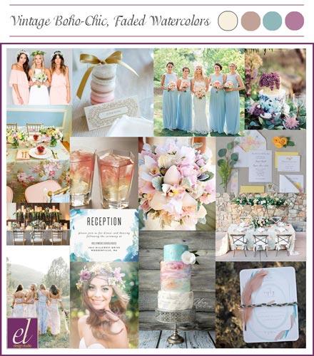 Vintage Boco Chic Watercolor Wedding Color board | Weddings by Events Luxe