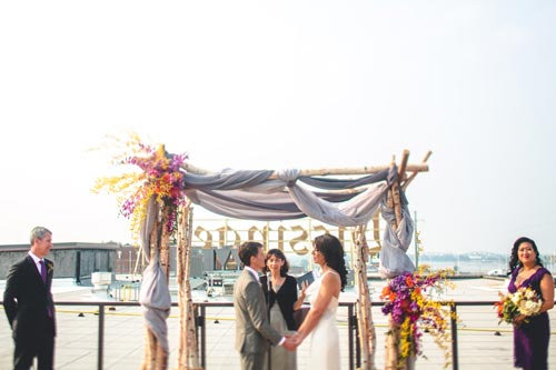 Bride & Groom at Rooftop Wedding at Bissingers | Events Luxe Weddings