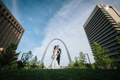 Bride and Groom at Arch | Events Luxe Weddings