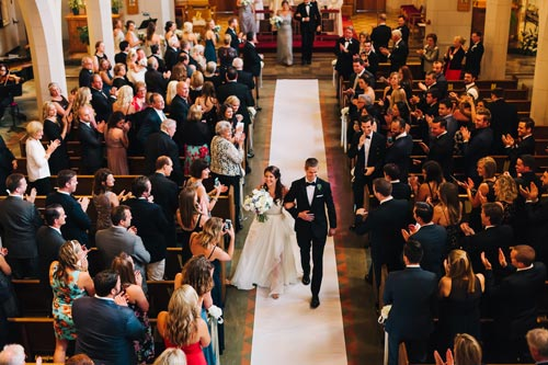 Bride & Groom at St Michael the Archangel Catholic Church Wedding | Events Luxe Weddings