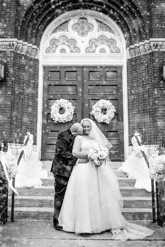 Bride & Groom at st. stanislaus kostka church | Events Luxe Weddings