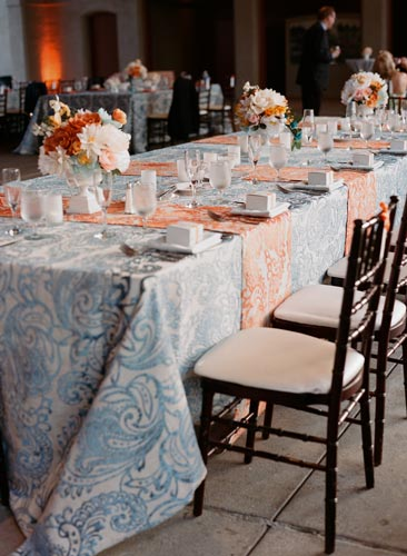 Blue and orange wedding at World's Fair Pavilion | Events Luxe Weddings