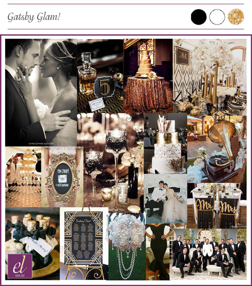 old hollywood wedding color board | Events Luxe Weddings