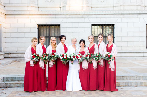 Red wedding bridal party | Events Luxe Wedding