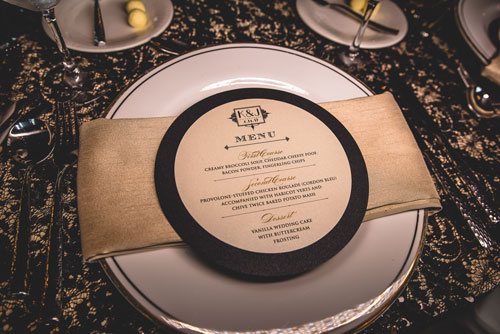 Old Hollywood Wedding Place Setting | Events Luxe Wedding